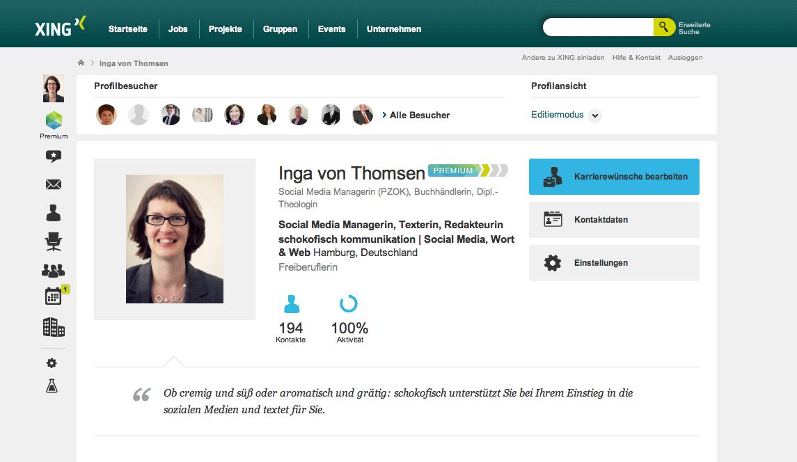 Inga von Thomsen auf XING