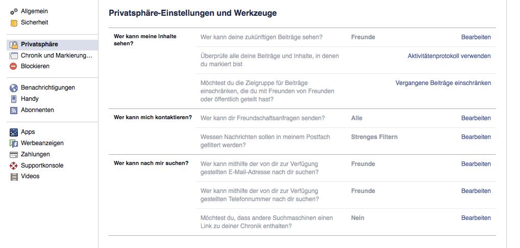 Facebook: Privatsphäre-Einstellungen